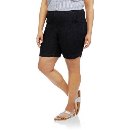 Just My Size Women's Plus-Size 2 pocket Pull-On Short, Blue