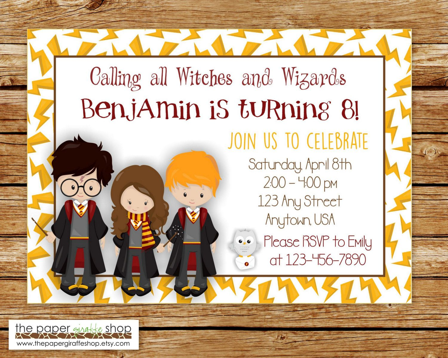 Harry Potter Invitation – Harry Potter Birthday Invitation