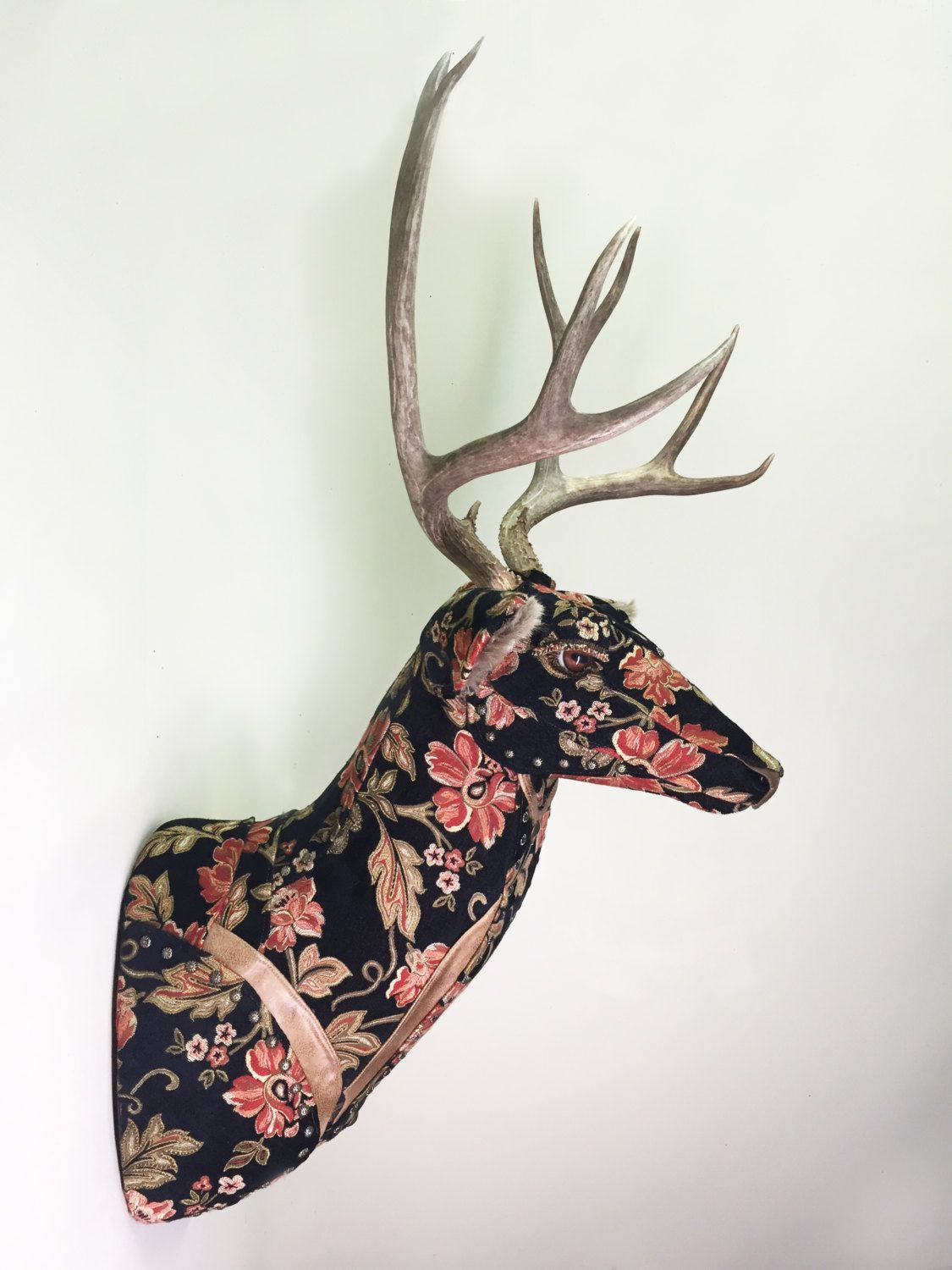 Aubrey Rose Mount Upholstered Faux Taxidermy Deer Head Black Red Pink Green Floral Fabric Real Antlers Animal Head Wall Mount Animal Heads Antler Crafts