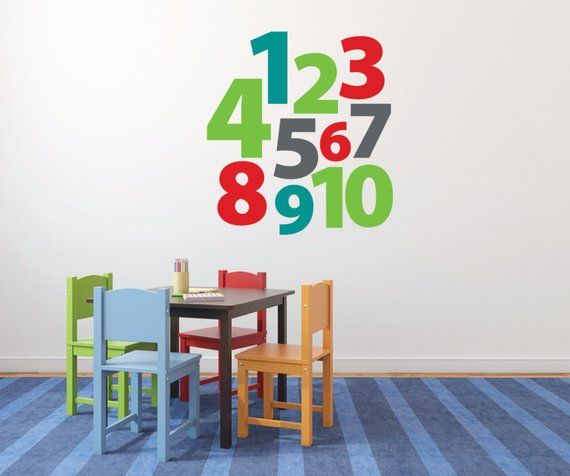 Number Stickers, Wall Decals For Kids, Playroom Wall Decals, Nursery Wall  Decal, Large Wall Letters,