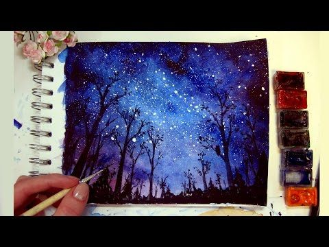 Night Sky Speed Painting Watercolor Amp Gouache Youtube
