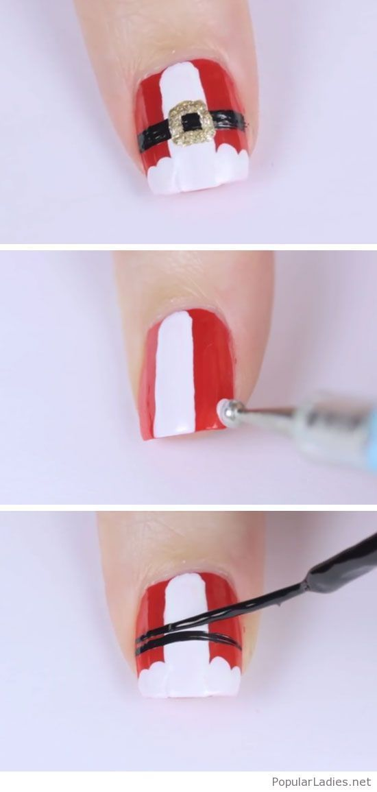 Simple Santa Nail Art Tutorial Step By Step Christmas Nails Easy Christmas Nail Art Designs Christmas Nail Art Easy
