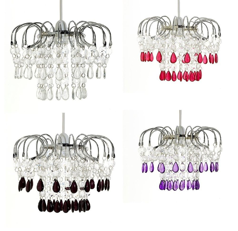 Ceiling Pendant Light Poppy Style Shade Acrylic Crystal Droplet Jewel Chandelier