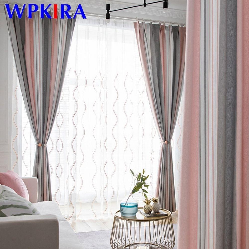 Cortinas Rayadas Morandi Rosas Y Grises Para Dormitorio Sala De