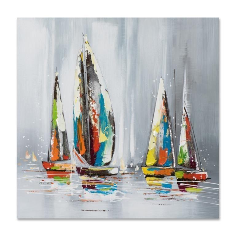 MARINE 80x80 Peinture acrylique Paysage carré Gris avec éléments métal | Peinture, Tableau ...
