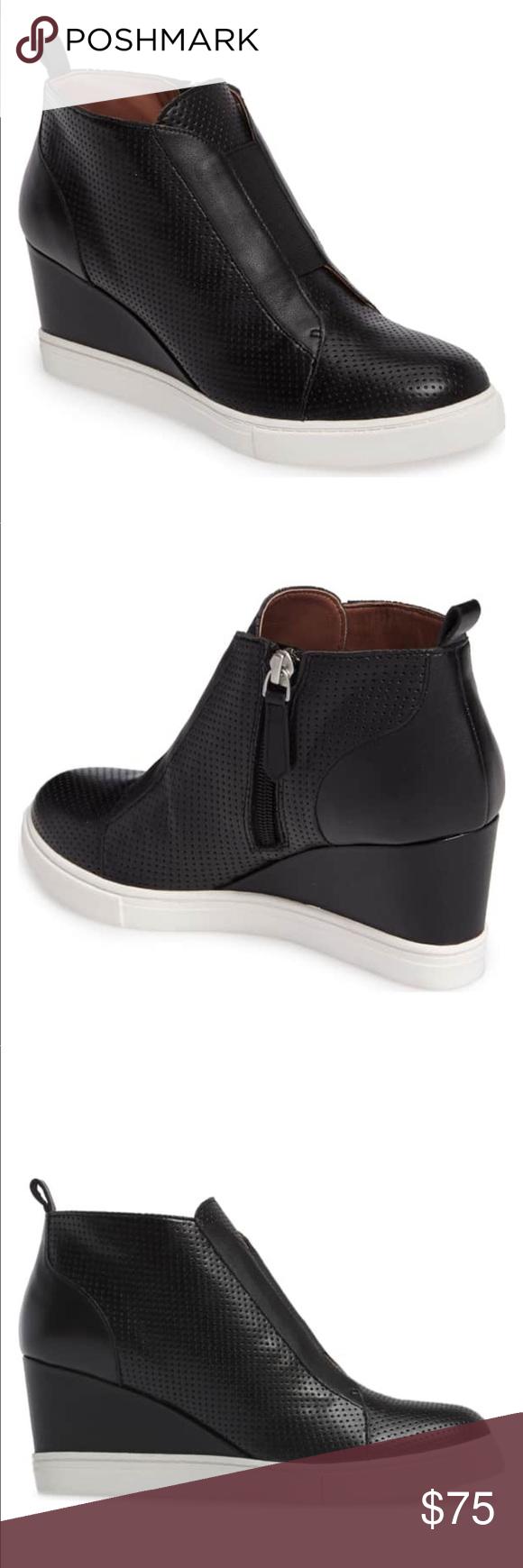 c1c1da76745f Linea Paolo Anna Wedge Sneaker Linea Paolo Anna Wedge Sneaker in black  perforated leather. Worn