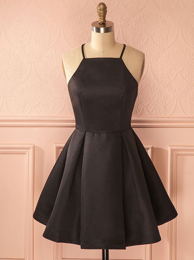 Black Satin Homecoming Dresses,Modest Cocktail Dress,11521 - #Black #Cocktail #Dress,11521 #Dresses,Modest #Homecoming #Satin #cocktaildress