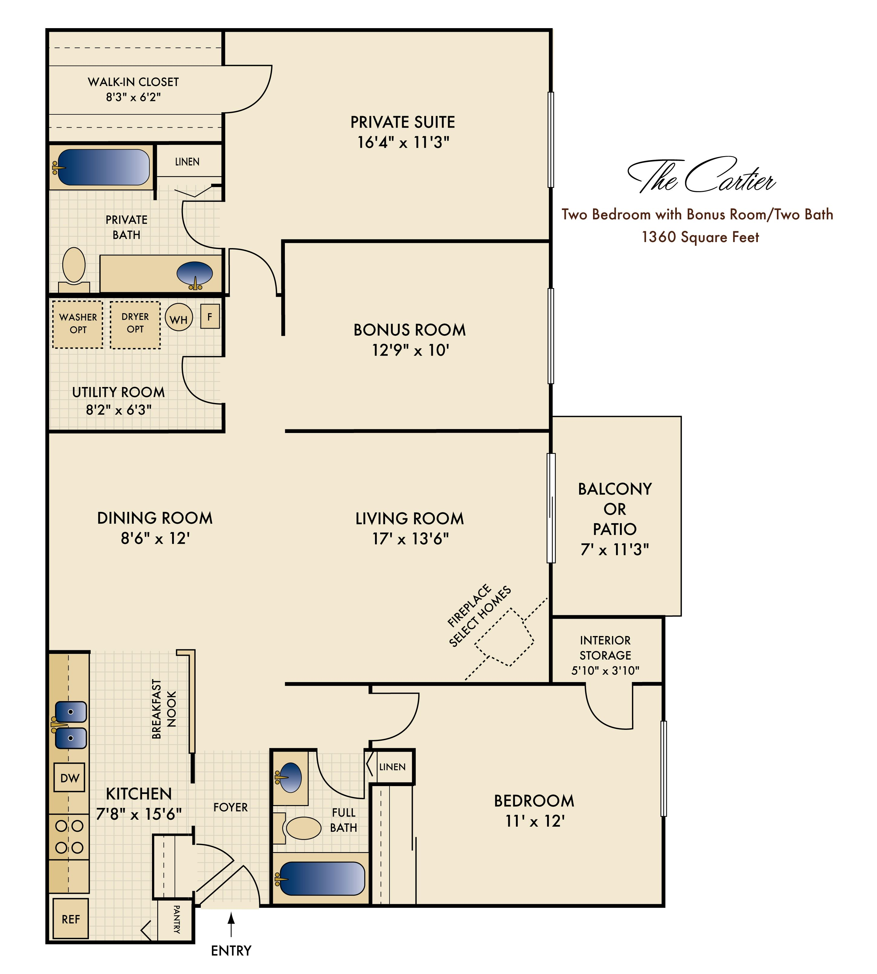 """Cartier"" Two Bedroom With A Bonus Room 1360 Sq. Ft. (With"
