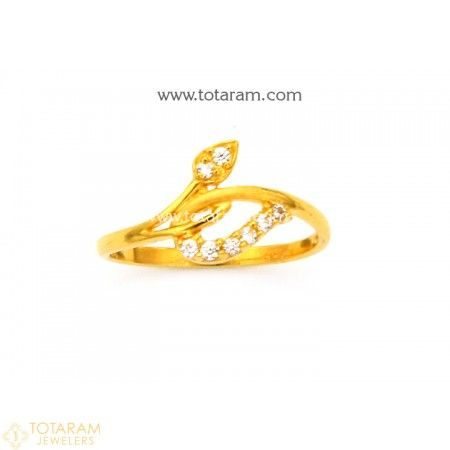 22K Gold Ring For Women with Cz 235 GR4361 Buy this Latest