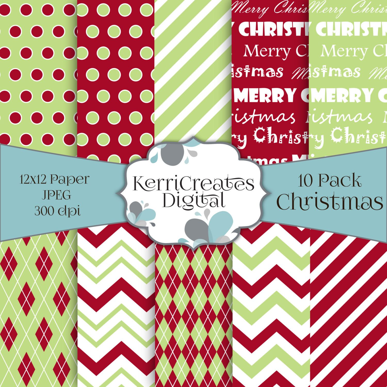 Scrapbook paper etsy - Christmas Scrapbook Paper Holiday Digital Paper Pack By Kerricreatesdigital On Etsy