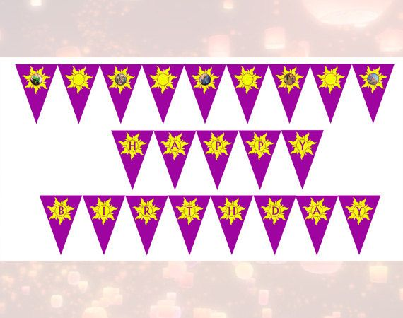 Disney Tangled Happy Birthday banner flags Printable 500 via