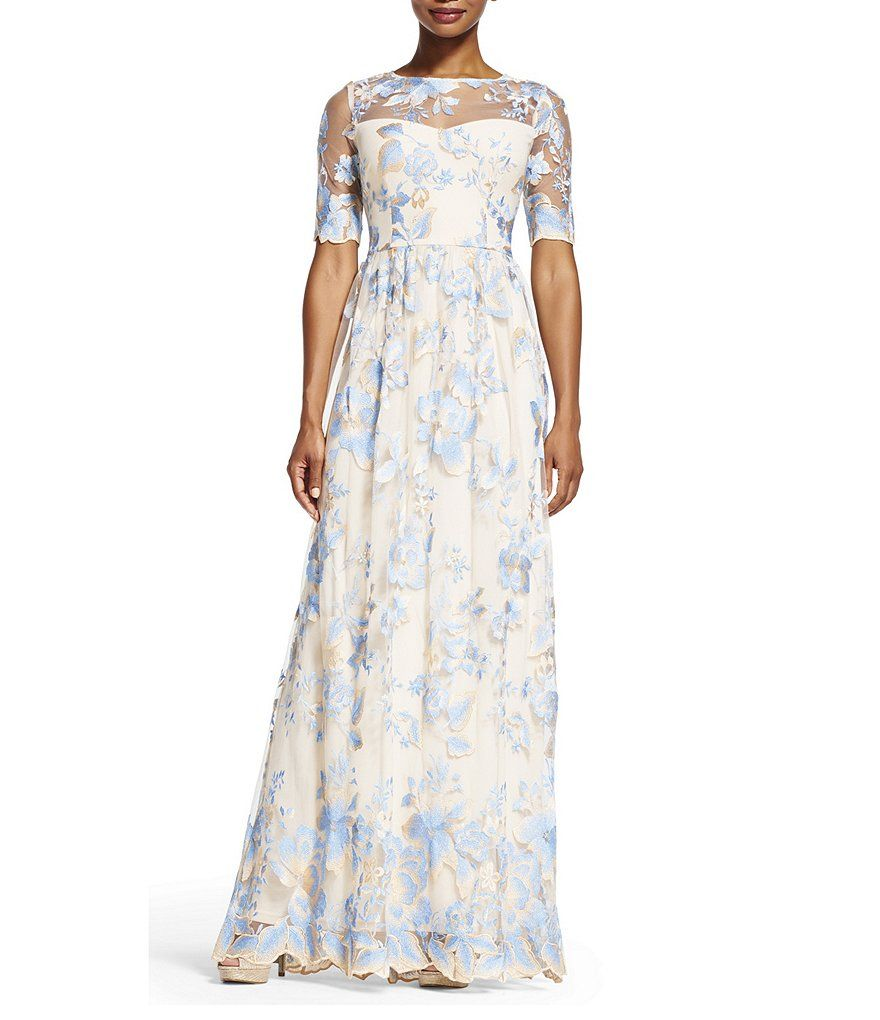 Adrianna Papell Embroidered Lace Round Neck Elbow-Sleeve Gown ...