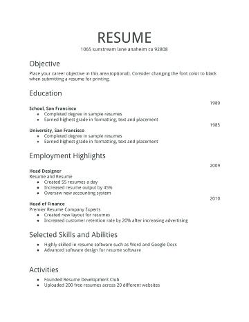 Sample Resume For Job Job Resume Format Simple Resume Examples