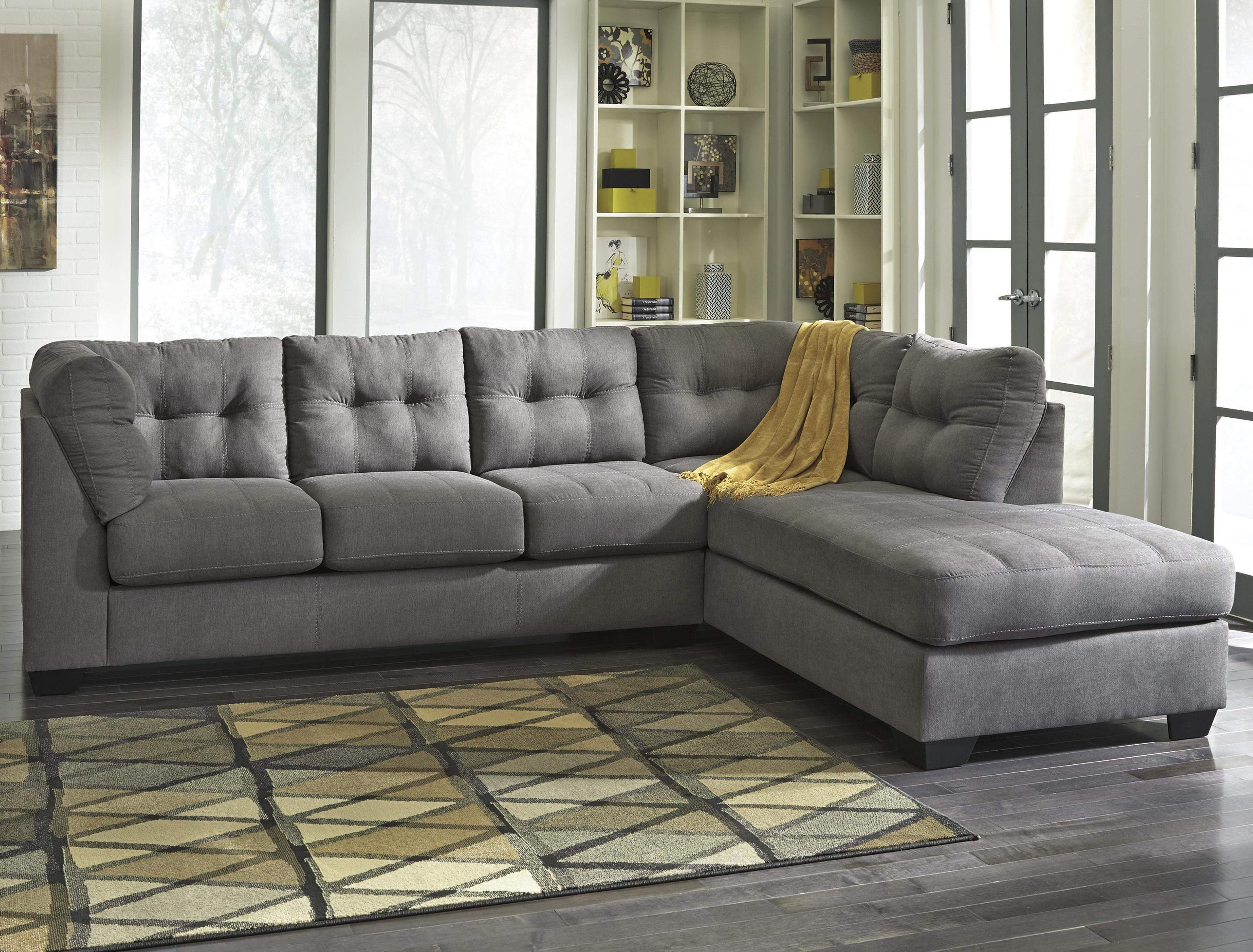 2 Piece Sectional w Sleeper Sofa & Chaise Maier Charcoal 2