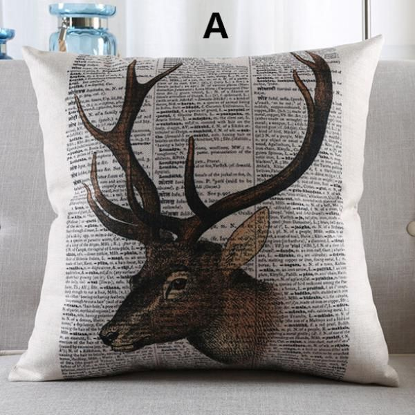 Deer Pillow Vintage Style Home Decorative Pillows For Couch