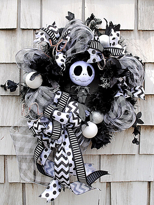 Nightmare Before Christmas Wreath, Jack Skellington Wreath, Black ...