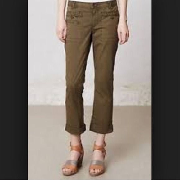 "Hei Hei | Army Green Braided Twill Trouser - Style No. 27808880 By Hei Hei color is the first picture: GREEN. Beautiful detailed braided pockets with wooden button closure.  Five-pocket styling Cotton, spandex Machine wash Regular: 29""L Petite: 27""L Imported Anthropologie Pants Trousers"