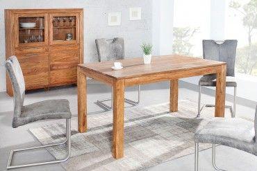Exklusiver Massiver Esstisch Pure 140cm Sheesham Stone Finish Tisch Grosser Esstisch Esstisch Tisch