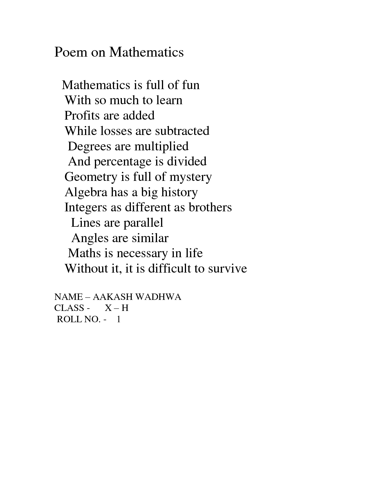 Math Poems With Math Terms Poems About Math Algebra