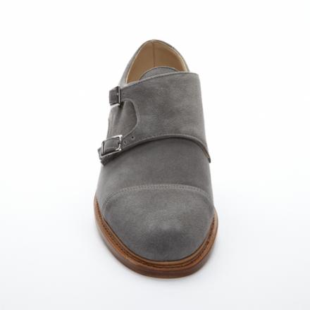grey suede captoe monkstrap. | Boots
