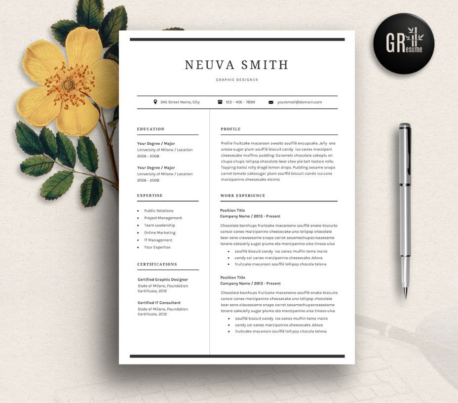 Civil Engineer Resume Template Word PSD and inDesign Format – Resume Template for Word