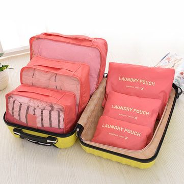 4bc3309b7861 10 Color 6Pcs Waterproof Travel Packing Bags Clothe Luggage ...