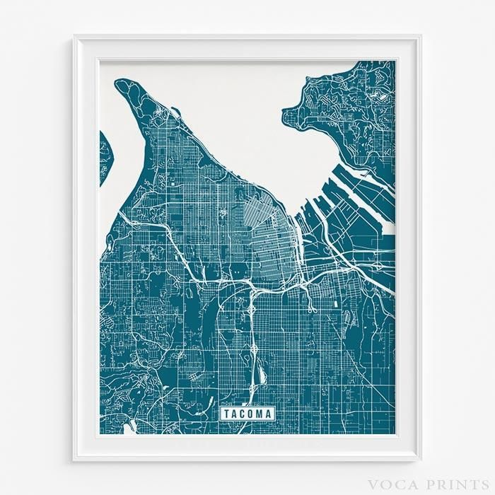 Tacoma washington street map print Tacoma washington Washington