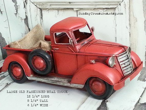 New Country Farmhouse Merry Christmas Vintage Red Truck Burlap Table