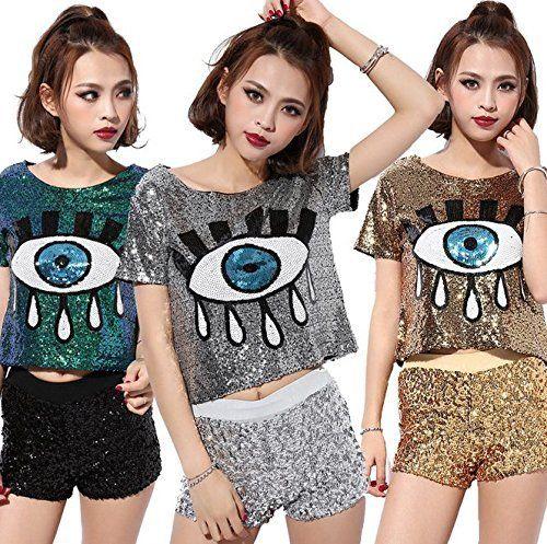 Womens Fashion Sequins Evil Eye Sparkle Glitter Hip Hop Shirt Tank Top  Clubwear 3eaa2e6331df