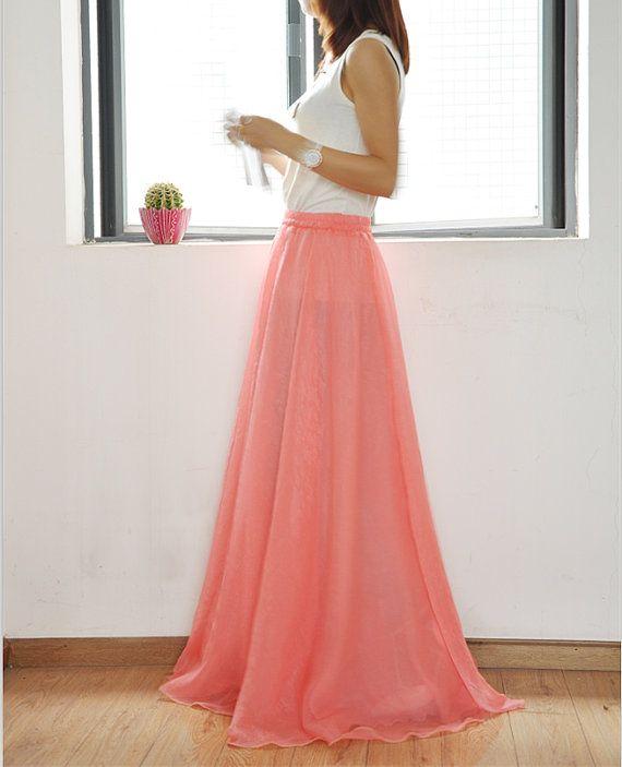 high waist maxi skirt chiffon skirt silk by