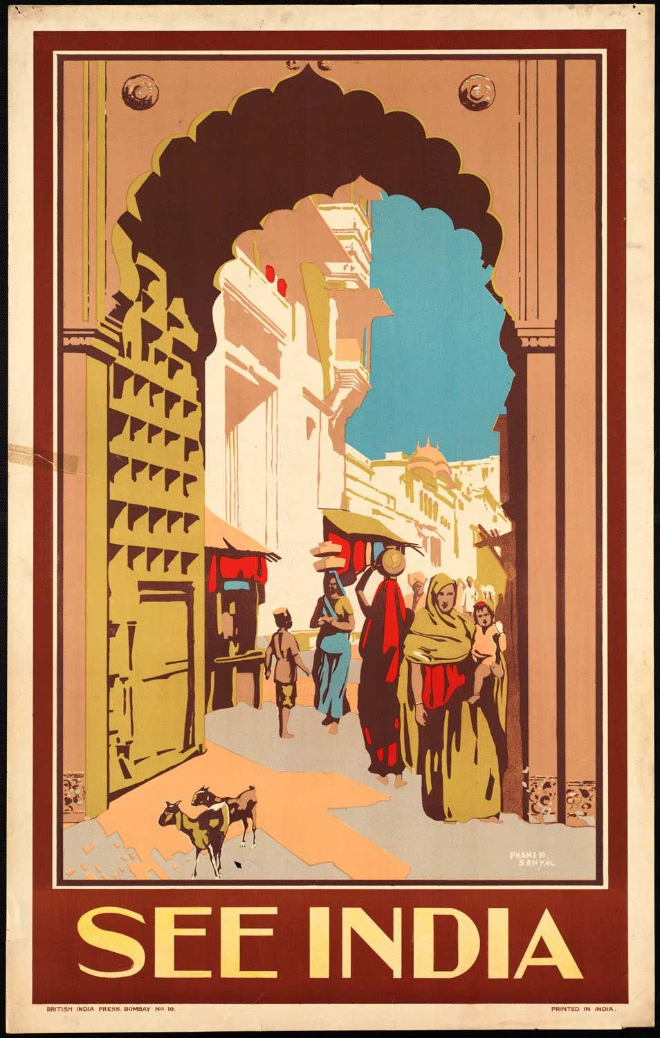 Vintage Poster Travel ad India by British India Press