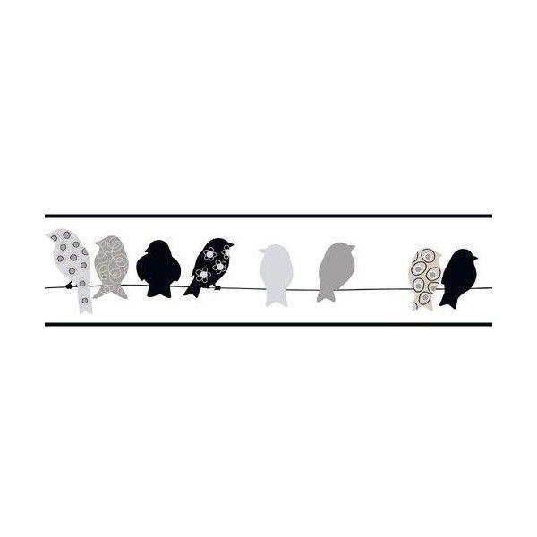 York Wallcoverings Kb8532bd Bird On A Wire Border Black Gray Sand Black And White Birds Wallpaper Border Grey Pattern Wallpaper