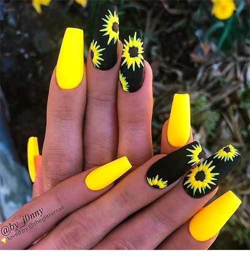 Catchy 120 Summer Nail Designs Nails Nails With Images Pretty Acrylic Nails Coffin Nails Designs Yellow Nails