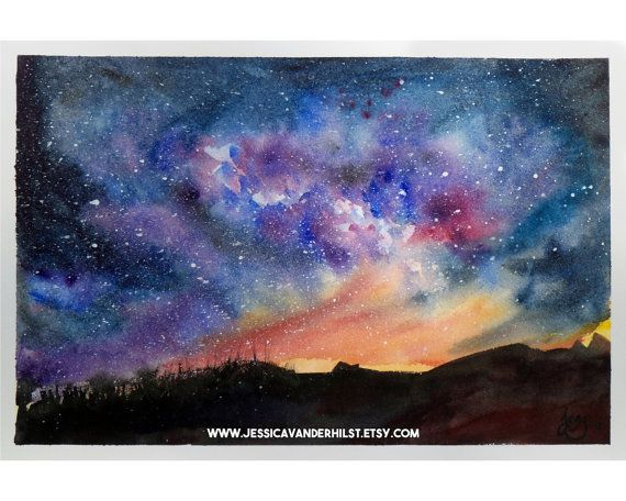 5 X7 Art Print Bushfire On The Horizon On A Clear Moonless