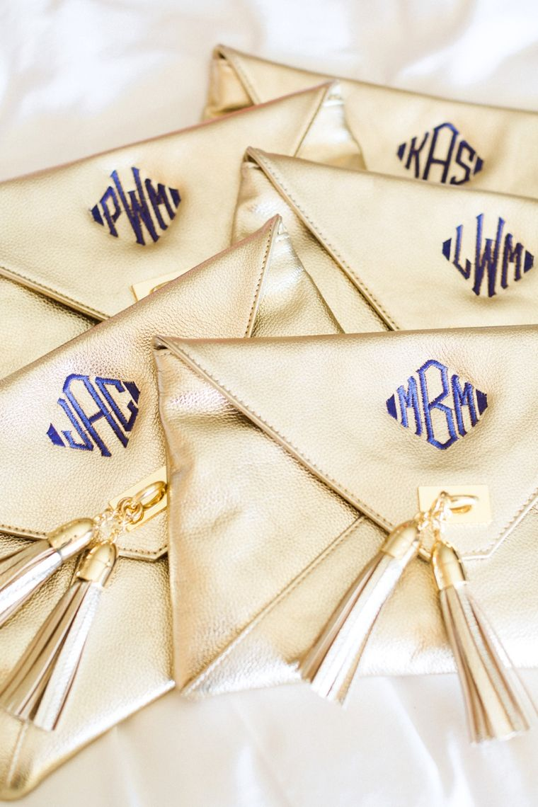 A Sophisticated Navy and White Wedding | Monogram clutch, Monograms ...