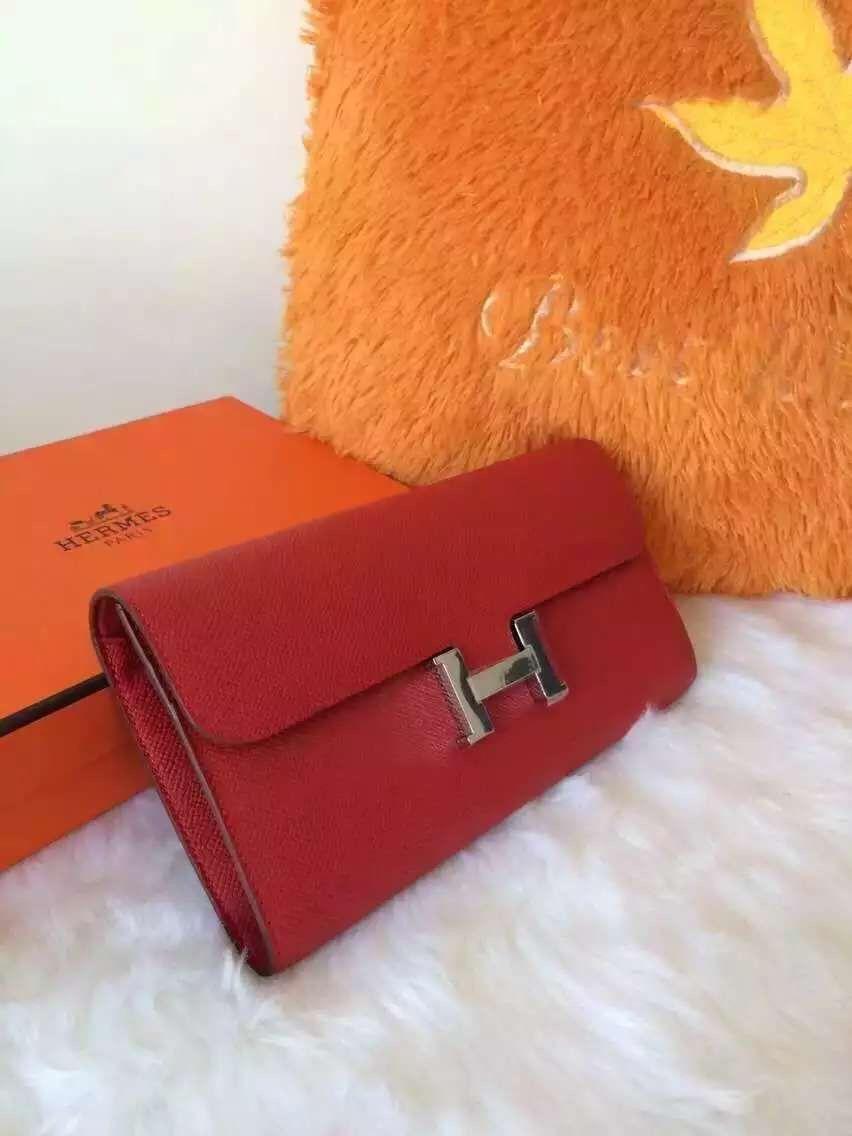 Hermes Constance Long Wallet in Original Epsom Calfskin Red  634643642ca31