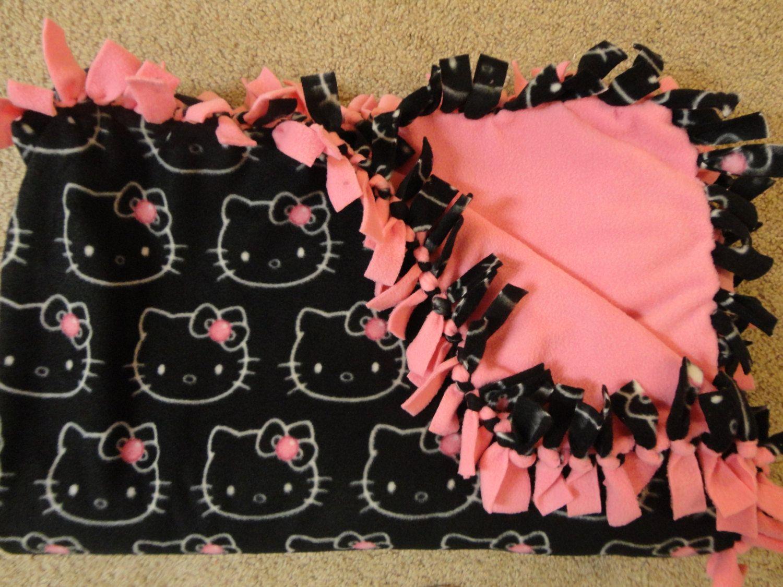 Hello Kitty No Sew Fleece Blanket Full by EmilyMarieCreations $45.00 & Monkey See Monkey DIY: make your own no sew double sided fleece ... pillowsntoast.com