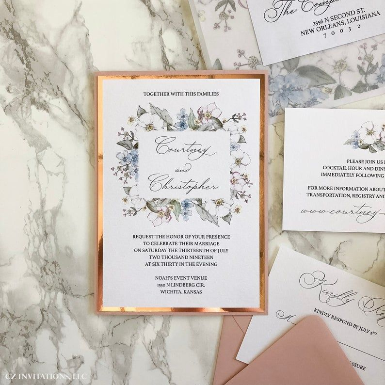 Dusty Pink And Rose Gold Mirror Wedding Invitation Watercolor