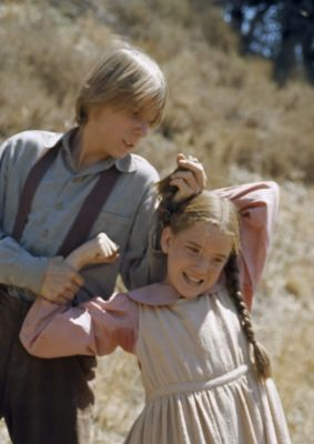 """Bubba and Laura fighting on Little House on the Prairie episode """"Bully Boys"""" (Michael LeClair and Melissa Gilbert)"""