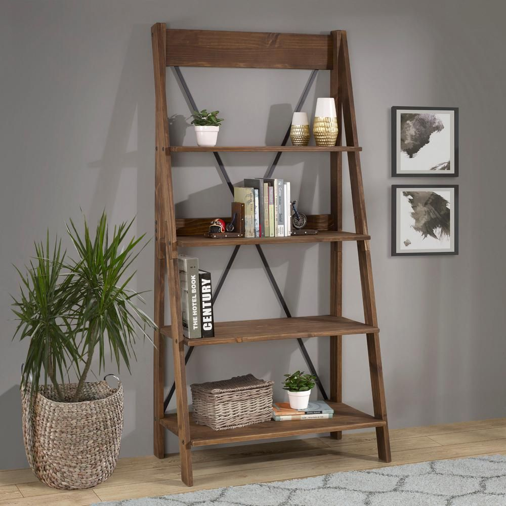 Welwick Designs 68 In Brown Wood 4 Shelf Ladder Bookcase With Open Back In 2020 Ladder Shelf Decor Ladder Bookshelf Ladder Bookcase
