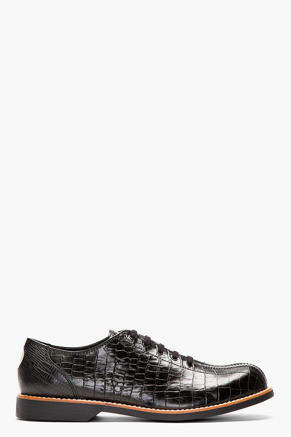 187e7c7486b520  Zapatos COMME DES GARÇONS HOMME PLUS Black Crocodile-Embossed Bowling   Shoes.
