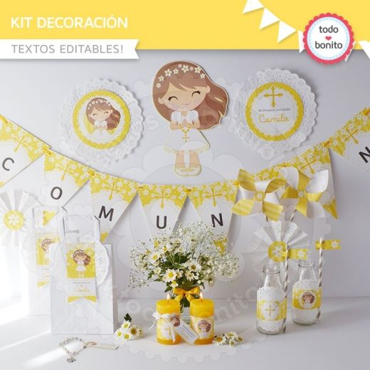 Primera comuni n margaritas kit decoraci n primera - Como decorar una fiesta de comunion ...