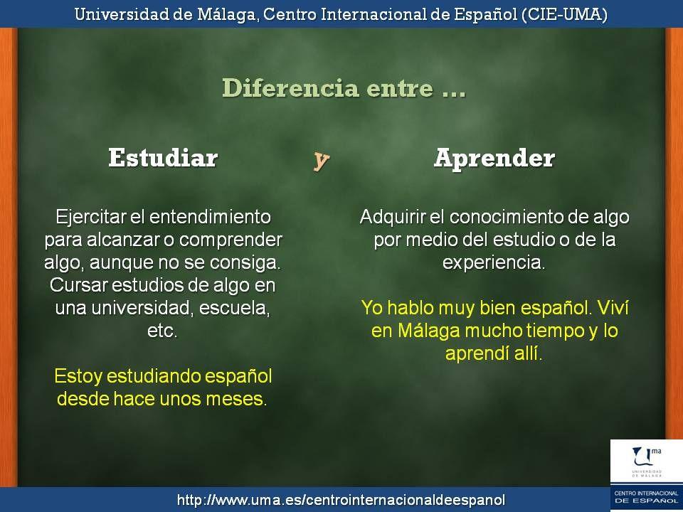 Diferencia entre estudiar y aprender. | Tapas ELE | Pinterest ...