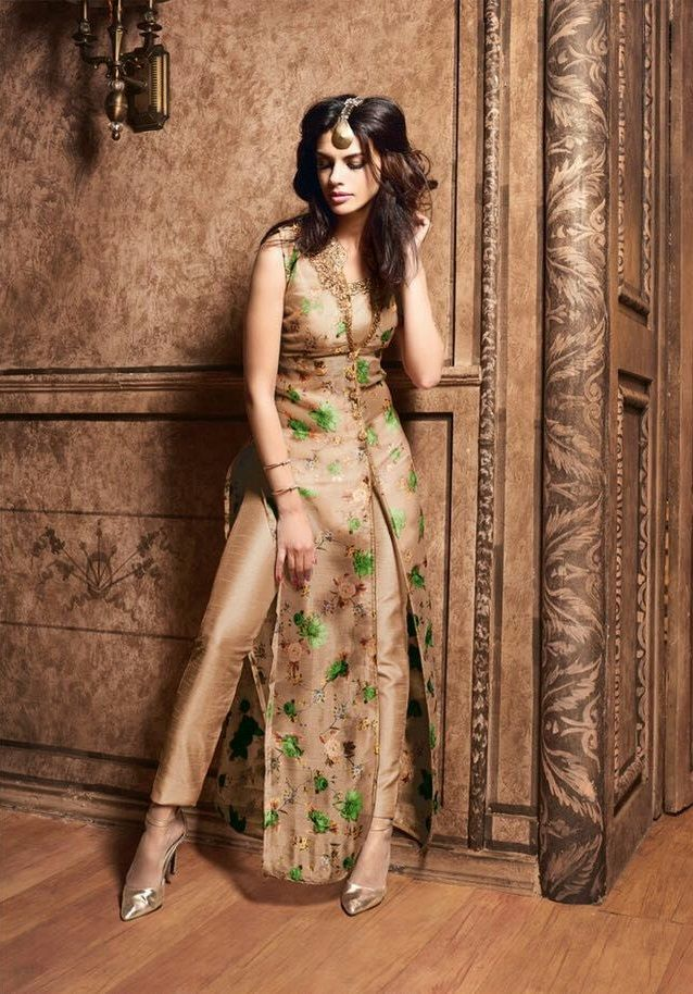 Shop Golden color silk designer party wear suit online at kollybollyethnics  from India with free worldwide shipping. fbeb7b1b1