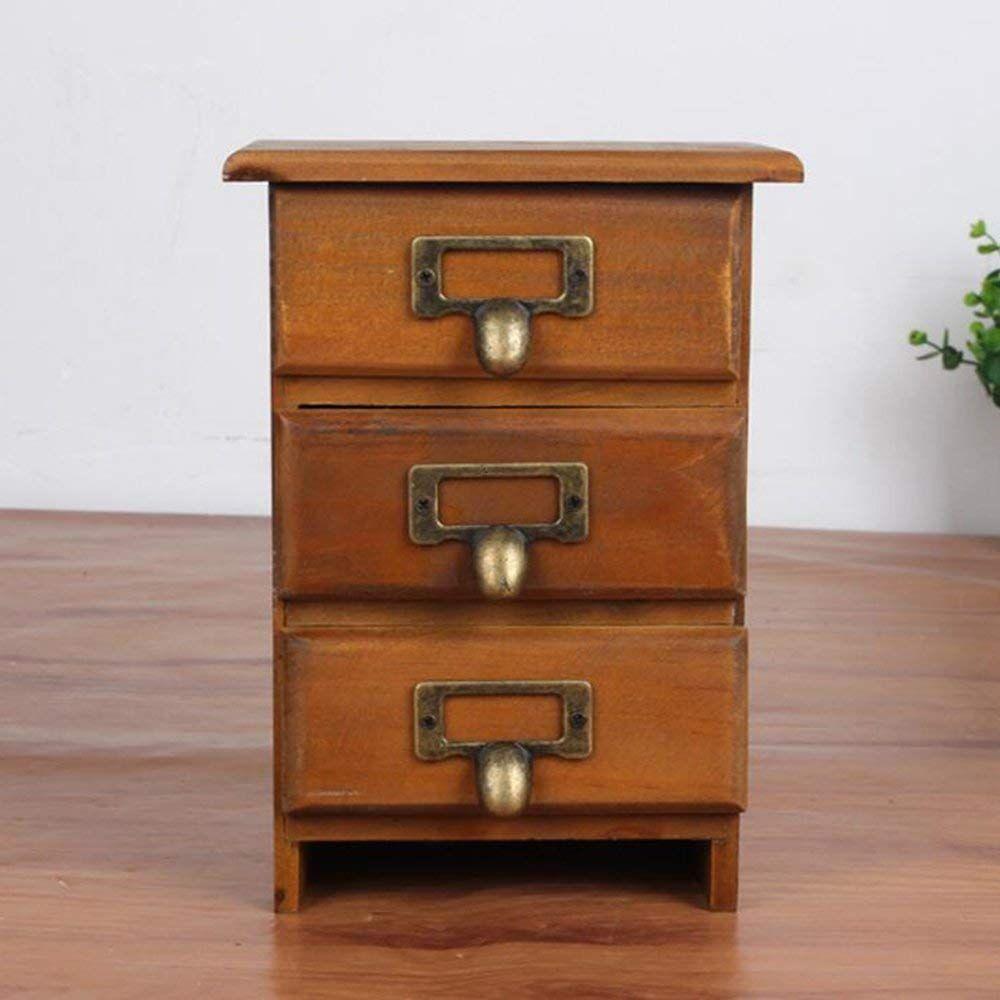 Mini 3 Drawer Desk Organizer Wooden Storage Chest Box Office Desktop Organizer Amazon Ca Baby Wooden Storage Boxes Wooden Storage Storage Drawers