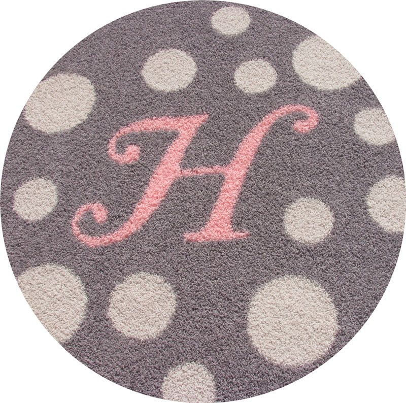 Monogram Round Rug With Polka Dots Nursery