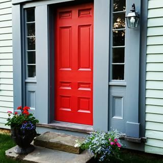 Dockside Blue Paint Color Sw 7601 By Sherwin Williams Masterbed Farmhouse Exterior Colors Bathroom Colors Red Red Front Door
