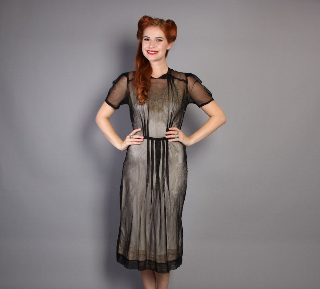 30s 40s Sheer Black NET DRESS, s by LuckyDryGoods on Etsy