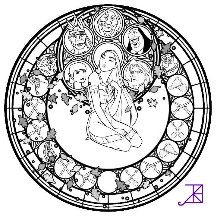 Pocahontas Stained Glass -line art- by Akili-Amethyst ...