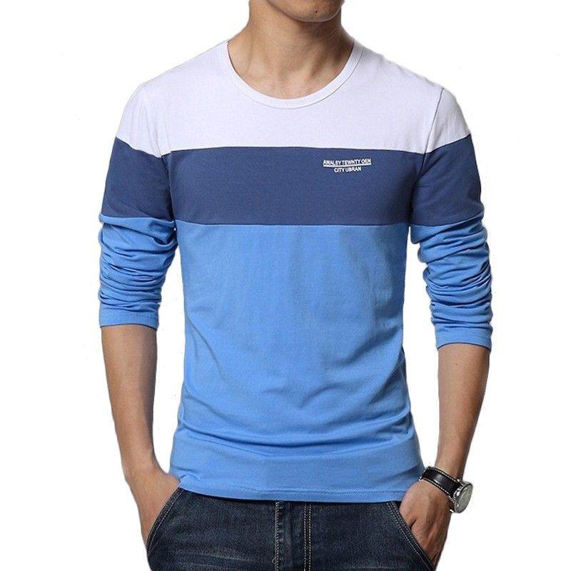 Camiseta T Manga Longa Listrada Azul Masculina de Frio Moderna Calitta 1d837ab03f